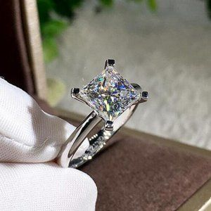 NEW 2ct Princess Cut Solitaire Diamond Ring
